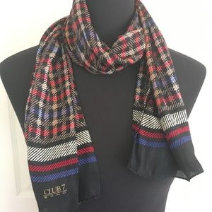 Tartan Pattern Echo Club 7 Silk Scarf